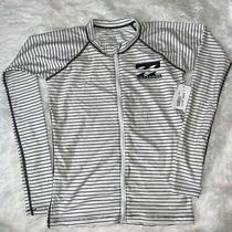 Billabong Juniors Size M Long Sleeve Zip Up Rash Guard Black & White Stripes Nwt Photo