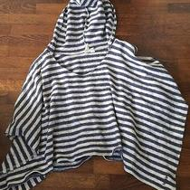 Billabong Ladies Sweater Poncho Sz Large Cream Navy Cover-Up Hoody Photo