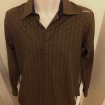 Billabong Men L/s Shirt Sz S Brown Fancy Stitch Embroidered Name Stripes & Dots Photo