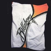 Billabong Men's 38 Board Shorts White Embroidered Surfing Surf Board  Photo