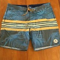 Billabong Mens Board Shorts  Swim Suit Blue Palm Tree Yellow Stripes Stretch 36 Photo