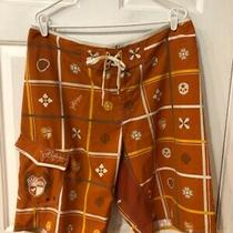 Billabong Men's Orange Patterned Board Shorts Size 38 Photo