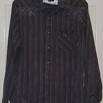 Billabong Men's Size  Medium M Slim Fit Black Striped Shirt Photo