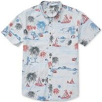 Billabong Men Shirt Blue Size 2xl Button Down Sailboat Flag Short Sleeve 54 344 Photo