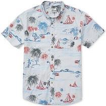 Billabong Men Shirt Blue Size 2xl Button Down Sailboat Flag Short Sleeve 54 063 Photo