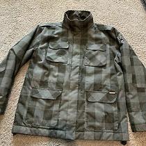 Billabong Mens Large Gray and Black Plaid Coat Photo
