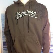 Billabong Mens New Medium  Hoodie Hoody Brown Logo  Zipper Sweater 5kin Photo