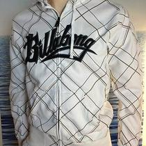 Billabong Mens New Small S Hoodie Hoody White Plaid Logo  Zipper Sweater Crun Photo