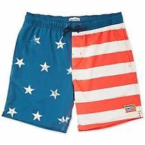 Billabong Mens Swimwear Blue Size Small S Americana Striped Star Trunks 54 094 Photo