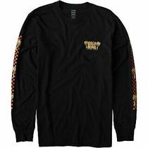 Billabong Mens T-Shirt Black Size Medium M Checkered Palm Tree Graphic Tee 386 Photo