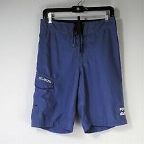 Billabong Pipe Masters Long Blue Board Shorts Pocket Men Size 29 Small Shorts Photo
