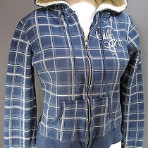 Billabong Plaid Embroidered Hoodie Womans Medium Zippered Blue Free Shipping Photo