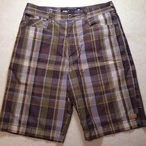 Billabong Plaid Shorts Mens 31w Preowned Brown Golf Casual Dress Nice Photo