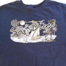 Billabong San Diego California Dolphins Sailboat Surfer Art Blue Large L T Shirt Photo