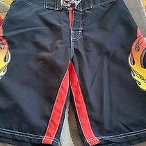 Billabong Shorts Size 30 Black With Eagle Design Photo