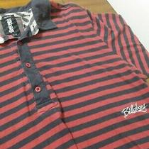 Billabong Slim Fit Large Polo Shirt Red and Blue Stripes Photo