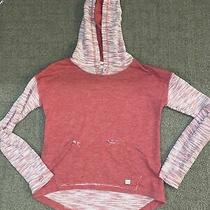 Billabong Small Red and White Hoodie Raw Hems Photo