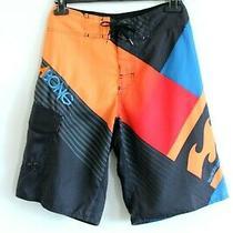 Billabong Sportscheck Bnwt Black With Red/blue/orange Design Men Shorts Size 28 Photo