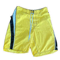 Billabong Surf Trunks Swim Shorts-Men Size 31 Yellow Black Striped Small Photo