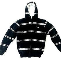 Billabong Sweatshirt Mens Size Large Black & White Striped Zip Up Hoodie  Photo