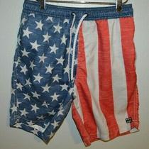 Billabong Usa Lay Backs American Flag Board Surf Beach Shorts Mens Size Small Photo
