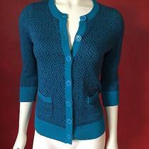 Billabong Women Cardigan Sweater Geometric 3/4 Sleeves Teal With Plum Print Sz S Photo