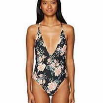 Billabong Women's Let It Bloom One Piece Swimsuit Black Sands Size Medium Alt Photo