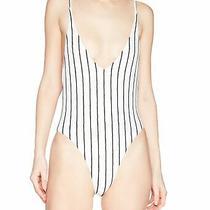 Billabong Women's Swimwear White Black Size Medium M Striped One Piece 79- 604 Photo