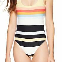 Billabong Women's Swimwear White Size Small S Striped One-Piece Plunge 84 986 Photo