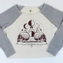 Billabong Womens Graphic Pullover Sweatshirt Cream Small S New Photo
