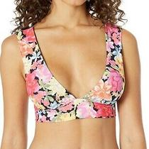 Billabong Womens Last Days Floral Plunge Bikini Top Black Multi Size M     10473 Photo