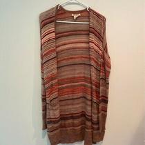 Billabong Womens Open Front Cardigan Brown Stripe Long Sleeves Slit Sweater L Photo