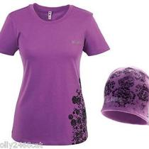 Billabong Womens Purple T-Shirt & Beanie Hat Set Brand New Boxed Size M 10/12 Photo