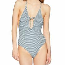 Billabong Womens Swimwear Deep Blue Size Large L Striped One Piece 89 075 Photo