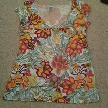 Billabong Xs Top Flowered Bright Summer Fun Cute Cap Sleeves Photo