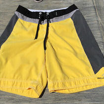 Billabong Yellow Gray Black Mens Board Shorts Size 31 Zipper Side Pocket Photo