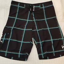 Billagong Platinumx Board Shorts Sz 34 Black Plaid Blue White Green Euc Photo