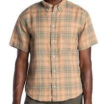 Billy Reid Men's Short Sleeve Kirby Linen Plaid Pocket Shirt Slim Fit Blush Photo