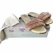 Birdies Rare the Sparrow Blush Satin Fringe Slip-on Flats Size 7 Shoes Dust Bag Photo