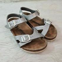 Birkenstock 31 Glitter Silver Ankle Strap Sandal Us Size 13  Narrow Photo
