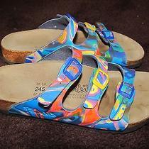 Birkenstock 38 Birki's Women's 7.5 Sandal Flip Flop Multi Bright Colors Aqua Photo