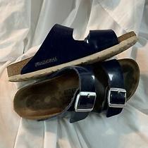 Birkenstock Arizona Blue Patent Soft Footbed Slide Sandals Us W 8 M 6 39 Eu Photo