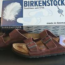 Birkenstock Arizona Leather Soft Footbed Sandals Excellent W/ Box Antique Port Photo
