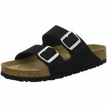 Birkenstock Arizona Slides Regular Black Nubuck Leather Shoes Sfb Sandals Slippe Photo