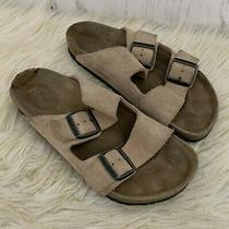 Birkenstock Arizona Unisex Taupe Suede Doulble Strap Buckle Sandals Size 38  Photo