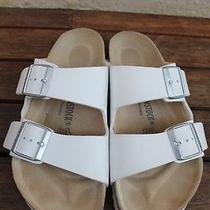 Birkenstock Arizona White Leather Sandals Size 38 Like New Photo