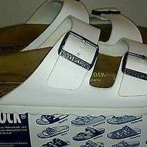 Birkenstock Arizona White Leather Sandals Womens Size 7 Mens Size 5 Photo