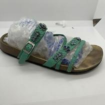 Birkenstock Betula Jeweled Rhinestones Seafoam Teal Sandals L11 M9 Eur 42 Nice Photo