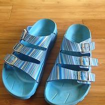 Birkenstock Birki Blue Striped Sandals Neoprene Footbed Womens 8 Mens 6 Euro 39 Photo