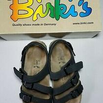 Birkenstock Birki's Ellice Eu 38n Us L7 M5 Black Sandal 3 Strap Excellent Cond Photo